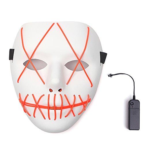 AnseeDirect Scary Maske Halloween Cosplay LED Kostüm Maske El Draht Leuchtmaske für Festpartys (Rot 1) (Ei-halloween-kostüm)