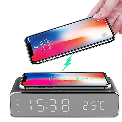 Jiadi Reloj Despertador de Carga inalámbrica, Reloj Despertador Digital portátil 2 en 1 con Cargador...