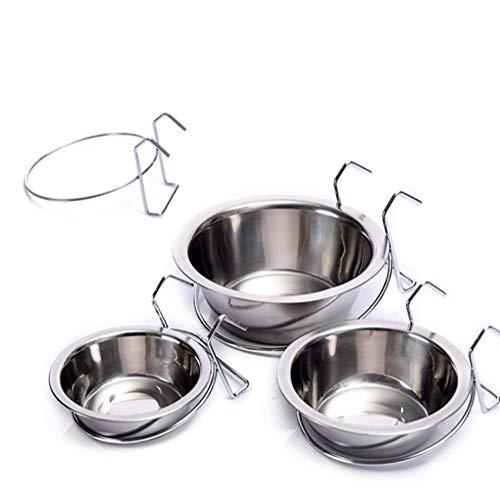 XXL Näpfe zum Aufhängen im Käfig mit Edelstahlschnalle- und Haken, Wasserspender-Schüsseln, Nahrung für Haustiere Hunde Katze Hase Vogel. (2 Stücke),L