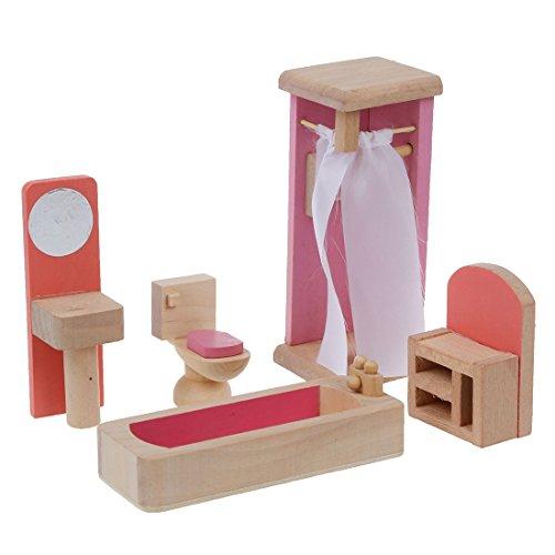 SODIAL(R) Dollhouse Moebel Holzspielzeug Badezimmer Set
