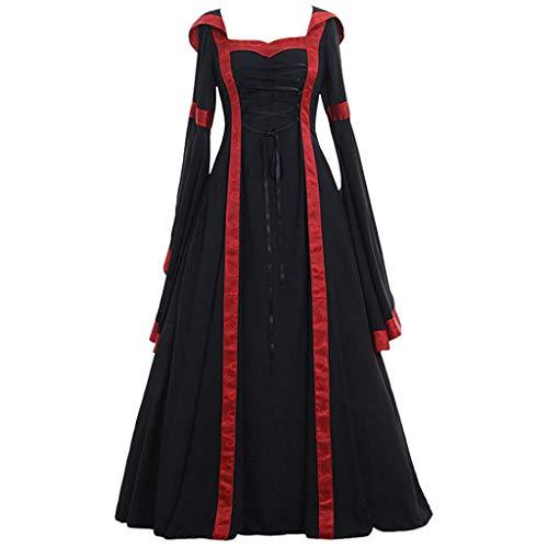 Kleid Gothic Kostüm - Piebo Damen Mittelalterliche Kleid Trompetenärmel Mittelalter Party Kostüm Maxikleid Kleid Gothic Viktorianischen Königin Kostüm Prinzessin Renaissance Bodenlänge Mehrfarbig Kleider mit Kapuze