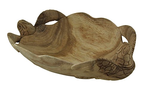 Zeckos handgeschnitzt Twin Sea Turtles Dekorative Scallop Edge Holz Schüssel Scallop Edge Bowl