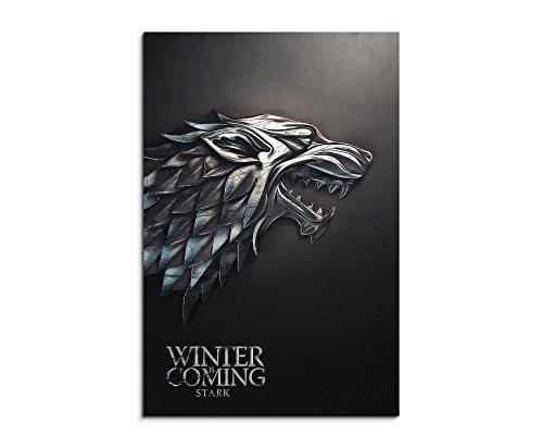 Stark, Game of Thrones 90x60cm Bild als schoener Kunstdruck auf echter Leinwand als Wandbild auf Keilrahmen -