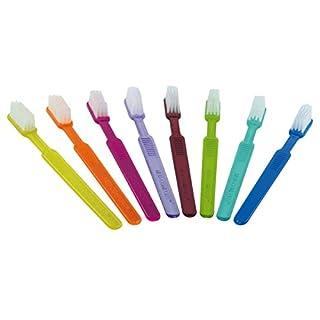 MED-COMFORT Einmalzahnbürste mit Zahnpasta in 8 Farben 100 Stück, Farbe:Orange