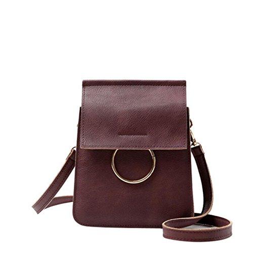 Transer Women Shoulder Bag Popular Girls Hand Bag Ladies PU Leather Handbag, Borsa a spalla donna Multicolore Green 15cm(L)*20(H)*4cm(W), Pink (Multicolore) - CQQ60901348 Wine