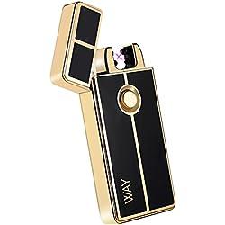 encendedor electrico,VVAY mechero electrico doble arco usb,mechero recargable de plasma sin llama(dorado)