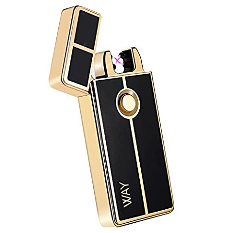 Arc Lighter, VVAY Electric Lighter Rechargeable Double Arc Flameless, Plasma Lighter(Gold)