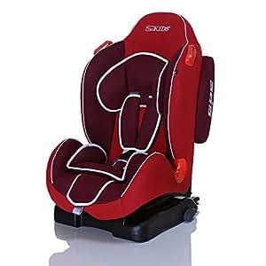 LCP Kids SIRIUS iFix RedLilac Isofix Kinderautositz 9 bis 25 kg Gruppe 1 und 2 mit dem SPS Seitenauprall Schutzsystem und 4-facher Liegeposition - - rot