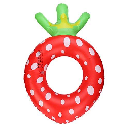 Artistic9 Erdbeere Schwimmring aufblasbar Sommer Pool Float Ring, rot, Inside diameter:24cm/9.46'