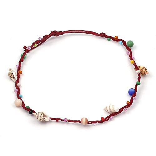 Perline multicolore fatte mano con conchiglie filo cerato cavigliera regolabile con chiusura laccio.