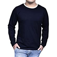 FENOIX Men's ROUND NECK FULL SLEEVE NAVY COTTON T-SHIRT