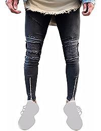 2899fea6765e Manadlian Jeans Hose Destroyed Denim Schwarz Jeanshose Herren Zerrissen  Slim Fit Motorrad Jahrgang Denim Jeans Hiphop