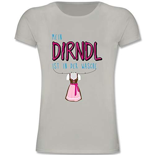 Kostüm Girl Bier Bayrisches - Oktoberfest Kind - Mein Dirndl ist in der Wäsche - 152 (12-13 Jahre) - Hellgrau - F131K - Mädchen Kinder T-Shirt