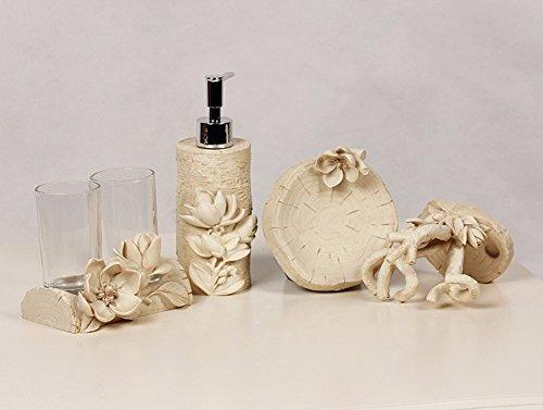 WAWZJ Europäischen Stil Bad Bad Vier Stück Bad Geräte Kreative Toilettenartikel Anzug Pastoralen Zahnbürste Kit,B (Stück Sand Anzug 3)