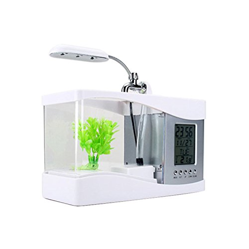 Fish Uhr Tank (Zaote Mini USB LCD Tischleuchte Licht Fisch Tank Aquarium mit LED Uhr Fisch Tank Ornamente Weiß)
