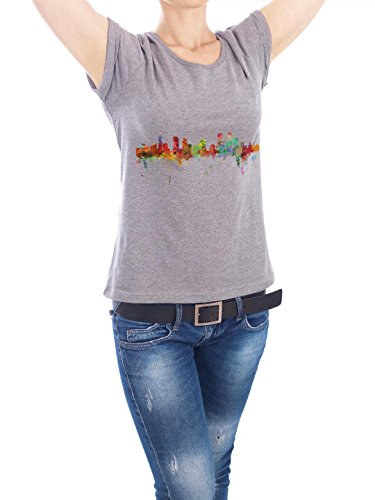 "Design T-Shirt Frauen Earth Positive ""Denver Colorado Watercolor"" - stylisches Shirt Städte Reise Architektur von Michael Tompsett Grau"