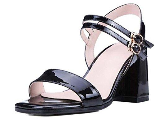 Beauqueen Pumps CASUAL SANDALS Sommer Mädchen Frauen Quadrat-toe Einfache Lackleder Schwarz Rote Sandalen Europa Standard Größe 34-39 Black