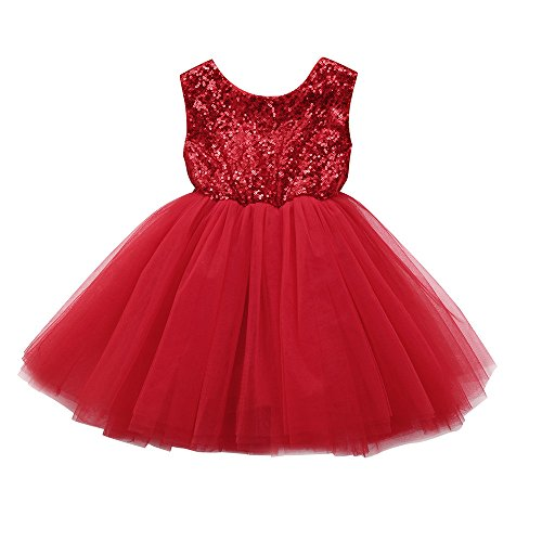 Kinderkleid Honestyi Kleinkind Kinder Baby Mädchen Herz Pailletten Party Prinzessin Tutu Tüll Kleid Outfits (Rot,90)