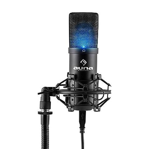 auna MIC-900B-LED USB Cardioid Studio Condenser Microphone (Plug & Play, USB Connector, 30 Hz - 18 kHz, LED Indicator & Shockmount) -