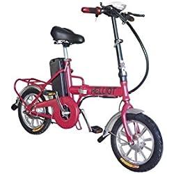 Helliot Bikes Daytona Bicicleta Eléctrica Plegable, Unisex Adulto, Rojo, Talla Única