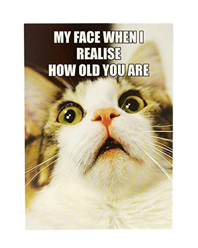 Funny Humorvolle Cat Geburtstagskarte Meme-wie alt?