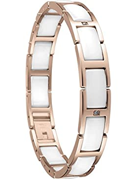 Bering Damen-Armband Ceramic Link Edelstahl teilvergoldet Zirkonia weiß 18.5 cm - 602-35-185