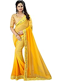 Yellow Georgette Designer Embroidred Saree With Blouse