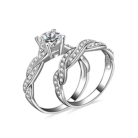 JewelryPalace 1.92ct Magnifique Bagues de Fiançailles Femme Infini Alliance Mariage Anniversaire Amour 2 Anneaux Ensemble en Argent Sterling 925 en Zircon Cubique de Synthèse CZ Taille