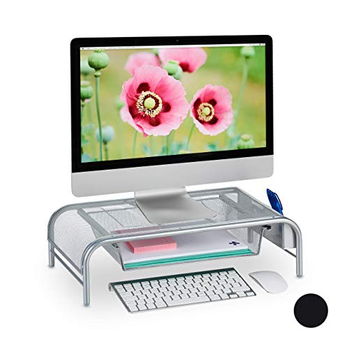 Relaxdays Monitorständer, Schublade, 2 Seitenfächer, Bildschirmständer bis 29 Zoll, HxBxT: 15 x 51 x 29,5 cm, Silber