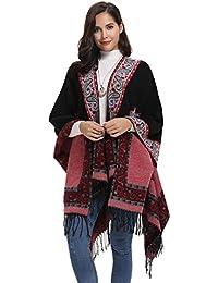 Abollria Ponchos y Capas Invierno Chal Vintage para Mujer Mantón Bufanda Larga Navidad