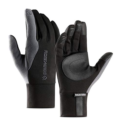Kafen Herren Frauen Winter Fahrrad Full Finger Screen Gloves - Dickes Futter aus Plüsch, Winddicht, wasserfest, rutschfest, außen, Baumwolle, grau, x-Large -