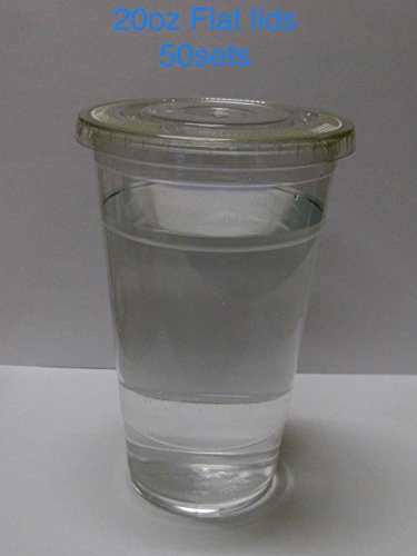 100Sets Klauenhammer. Kunststoff Ultra Clear Cups mit Flach Deckel ist für Kaltgetränke wie Eiskaffee, Bubble Tea, Frozen Cocktails, Wasser, Sosa und jucies 20oz with flat lids 50sets farblos