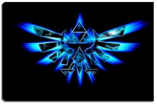 Hyrule Emblem , Zelda Dark Motiv auf Leinwand im Format: 120x80 cm. Hochwertiger Kunstdruck als Wandbild. Billiger als ein Ölbild! ACHTUNG KEIN Poster oder Plakat!