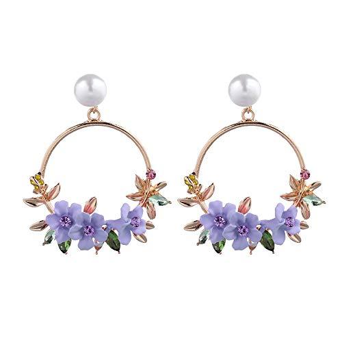 SO-buts Elegante Blumen große runde Ohrringe Damenmode Perlen Strasssteine (Lila)