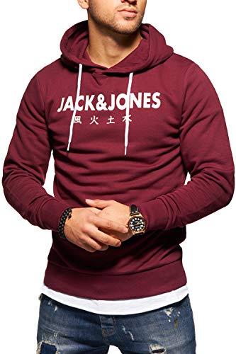 JACK & JONES Herren Hoodie Kapuzenpullover Sweatshirt Pullover Print Streetwear (X-Large, Port Royale) -