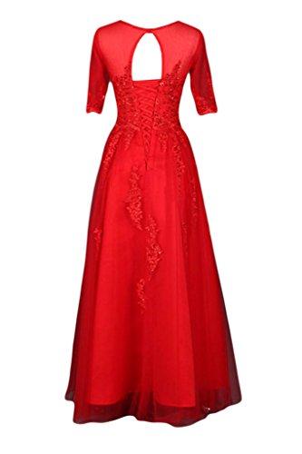 Gorgeous Bride Elegant Lang Aermel Rundkragen A-Linie Tuell Spitze Abendkleid Ballkleid Schokolade