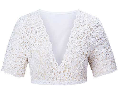 Baumwoll-spitzen-bluse (AIDEAONE Oktoberfest Spitzen Bluse Dirndlbluse Dirndl Bluse für Damen Oberteil Baumwolle)
