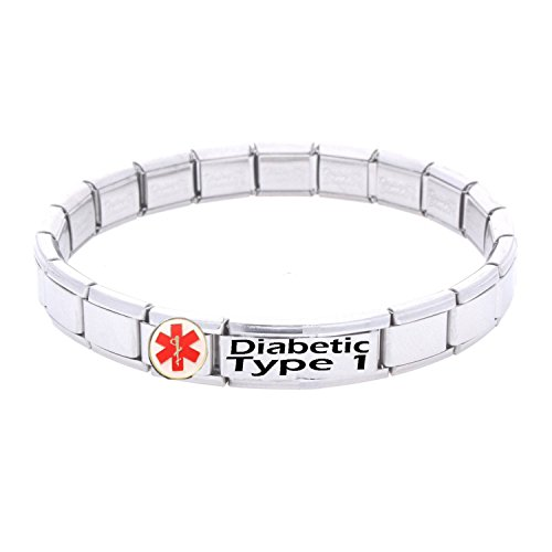 diabetic-type-1-medical-id-alert-bracelet-stainless-steel-one-size-fits-all-totally-adjustable