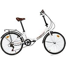 """Moma Bikes Plegable Ruedas 24"""" Shimano. Aluminio Bicicleta, Unisex Adulto, Blanco"""