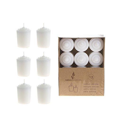 Mega Kerzen-15Stunden Votiv Kerzen ohne Duft, Weiß, 12Stück