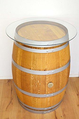 Tonneau de vin en fût de chêne affillé avec plateau en verre (poncé + huilé + cercles argent)