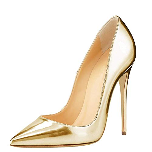 FAMLYJK Frauen Classic Auf Spitz High Heel Pumps Sexy Slip Auf Stiletto Wedding Dress Pumps Schuhe,Gold,41 Sexy Classic Pumps