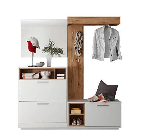 Avanti trendstore - milani - guardaroba compatto in legno laminato di colore bianco/quercia selvaggia. ideale per l'ingresso. dimensioni lap 177x195x32 cm