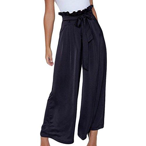 Frauen Bowtie Elastisch Sexy Hohe Taille Beiläufig Hose Breites Bein Hose (L, Schwarz) - Dickies-elastische Taille Hose