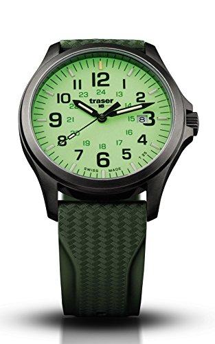 Traser P67Officer Pro Gun Metal Lime, Rubber Band (caucciù naturale), Verde