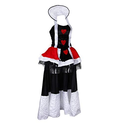 P PRETTYIA Damen Herzkönigin Cosplay Kostüm für Halloween Karneval und Fasching - XL (Queen Of Hearts Cosplay Kostüm)