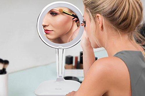 Harcas Schminkspiegel mit Lampen. Kosmetikspiegel mit LED-Beleuchtung und 10X Vergrößerung. Ideal zum Schminken, Rasieren, Zähneputzen, Augenbrauenzupfen und für das Badezimmer oder zum Reisen. Weiß - 5