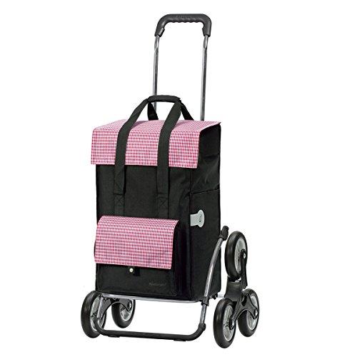 Andersen Einkaufstrolley Royal Treppensteiger klappbar und 49 Liter Einkaufstasche Milla schwarz/rot