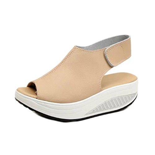 Elecenty Sandalen Übergröße Damen Keilabsatz Schuhe,Schuh Platform Plateau Sommerschuhe Hoch Absatz Shoes Sandaletten Frauen Elegante Peep-Toe regulierbaren Schnallen Freizeitschuhe (37, Beige) -