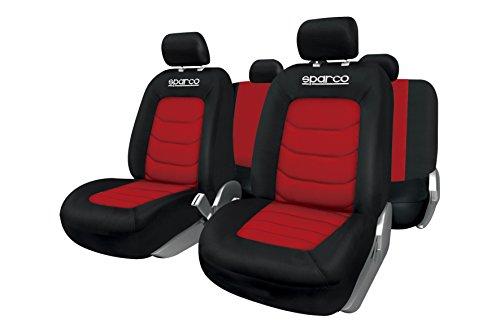 Sparco spc spc1019rs set di coprisedili, compatibili con airbag, rosso/nero